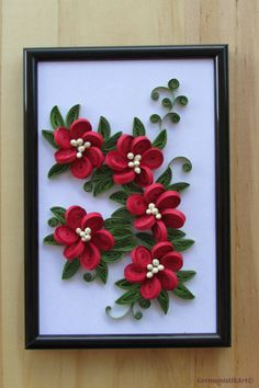 Quillling Flower Wall Art, Framed Flower Art, Paper Quilling Art, Flower Wall Hanging, Quilling Home Decoration - Flower Hanging Wall Art Miniature Quilled Home by GermanistikArt You are in the right place about ho - Paper Quilling Flowers, Paper Quilling Cards, Paper Quilling Patterns, Neli Quilling, Quilled Roses, Quilling Ideas, Hanging Flower Wall, Flower Frame, Hanging Wall Art