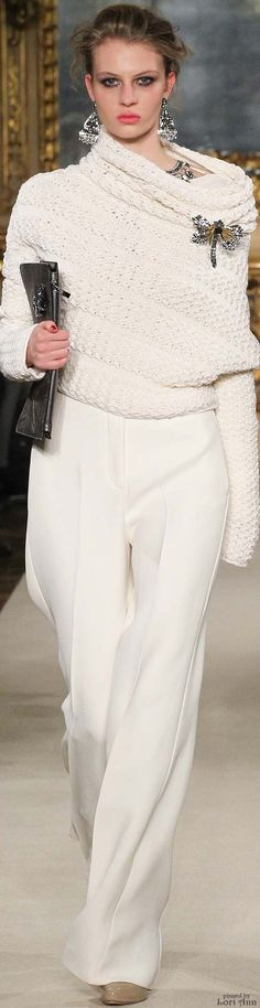 Les Copains ~ Winter White Knit Cowl Neck Sweater w Full Leg Wool Trousers 2015