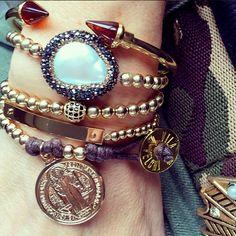 Set By Vila Veloni Purple And Gold Coin Bracelets
