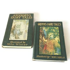 Fairy Tale Books, Grimms Fairy Tales, Hans Christian Andersen Stories, Antique Books 1913 Set of 2, Classic Books for Kids, Traditional Old