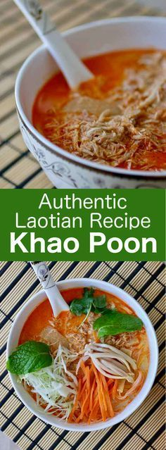 Khao poun is a traditional spicy Lao rice noodle soup often made with chicken, fish, or pork as well as fragrant herbs and spices. #Laos #Asian #Asia #soup #196flavors