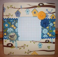Birds Flowers and Birdhouse Decoupaged Picture Frame