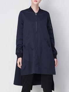 Shop Coats - Blue Stand Collar Long Sleeve Asymmetric Coat online. Discover…