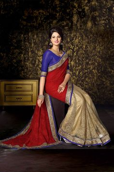 Maroon Georgette Party Wear Saree