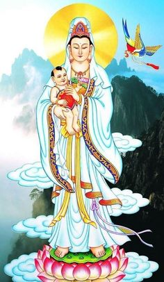 "SONGZI NIANGNIANG (送子娘娘, ""The Maiden Who Brings Children""), also referred to in Taiwan as Zhusheng Niangniang (註生娘娘), is a Taoist fertility goddess. She is often depicted as Guan Yin herself in drawings, or alternatively as an attendant of Guan Yin; Guan Yin herself is also often referred to as ""Guan Yin Who Brings Children"". She is depicted as an empress figure, much like Xi Wangmu and Mazu."