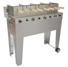 Kürtőskalács or Chimney cake gas grill. Kurtos Kalacs, Hungarian Desserts, Cake Oven, Grill Stand, Chimney Cake, Portable Bbq, Outdoor Cooking, Outdoor Grilling, Cake Business