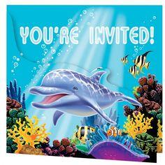 Zee thema uitnodigingen 8 stuks - Feestartikelen shop.  Oceaan thema uitnodigingen 8 stuks. Deze vrolijke uitnodigingen met oceaan print zijn verpakt per 8