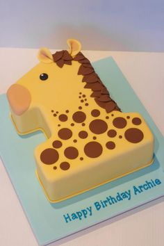 Number Cakes & Dessert Ideas For Single Digit Birthdays - The Effective Pictures We Offer You About Birthday Cake A quality picture can tell you many thin Giraffe Birthday Cakes, Toddler Birthday Cakes, Number Birthday Cakes, Giraffe Cakes, Number One Cake, Number Cakes, Animal Cakes, Cake Blog, Novelty Cakes