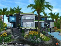 Black Jaree Modern Found in TSR Category 'Sims 3 Residential Lots' Sims 4 House Building, Sims House Plans, Lotes The Sims 4, Sims Cc, Casas The Sims 3, Sims 4 House Design, Sims 4 Modern House, Sims Free Play, Free Sims