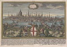 """Gesamtansicht, darunter 52 Erklärungen in deut. und lat. Sprache, """"Londinum. London."""".. altkol. Kupferstich v. Ringle n. Werner b. Engelbrecht in Augsburg, um 1740  875.00 Euro ."""