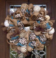 Burlap Wreath with BROWN LEOPARD RIBBON by decoglitz on Etsy