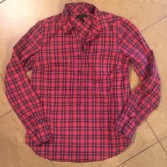 J.Crew Current Pop Over Top Perfect condition! This J.Crew Red Tartan Popover is current & still in stores! I purchased this just before Thanksgiving for family pictures. Wore it one time for pictures & never again! Washed one time. It's in excellent condition, with no signs of wear. Buttons only half ways down, flattering round edges, not a factory piece. You can still find it on JCREW.com and in stores :) size 2. No PayPal or trades. Price is Pretty firm. J. Crew Tops Button Down Shirts