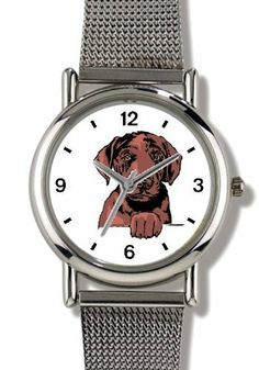 Chesapeake Bay Retriever Puppy Dog - WATCHBUDDY® ELITE Chrome-Plated Metal Alloy Watch with Metal Mesh Strap-Size-Small ( Children's Size - Boy's Size & Girl's Size ) WatchBuddy. $79.95