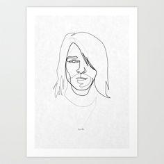 One Line Kurt Cobain Art Print by quibe - $18.72