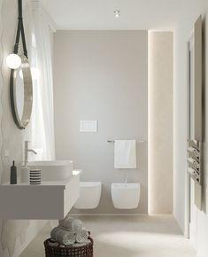 Modern Bathroom Design, Bath Design, Bathroom Wall, Bathroom Interior, Interior And Exterior, Interior Design, Linear Lighting, Minimalist Interior, Bathroom Styling