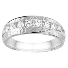 10k White Gold Channel set Men's Band with Hammered Finish With White Sapphire (0.52 Cts., colorless, N/A) (10k White Gold, Size 10.5) (solid)