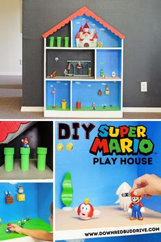 Super Mario Room, Super Mario Birthday, Mario Birthday Party, Super Mario Party, Doll House For Boys, Mario Crafts, Mario Toys, Fantasias Halloween, Toy Rooms