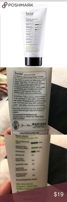 Belif Creamy Cleansing Foam Moist (face cleanser) This creamy foam-type cleanser is formulated with vitamin c rich Sapwort and Wormwood, which helps to detoxify skin. Formulated with 20% glycerin, this cleanser leaves skin feeling clean, soft and conditioned. 5.4 oz, Unopened, new product. belif Makeup