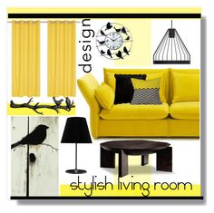 """""""Decoration Ideas, Good Black And Yellow Living Room"""" by chinnok-design ❤ liked on Polyvore featuring interior, interiors, interior design, home, home decor, interior decorating, fferrone design, Vitra, Squarefeathers and DENY Designs"""
