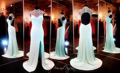Aqua Prom Dress-High Beaded Neck-Open Back-115BP099880 / Rsvp Prom and Pageant, Atlanta, GA