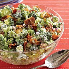 Crunchy Broccoli Slaw   MyRecipes.com (can I make this lower fat? Turkey bacon, low or no fat mayo?). It has got to make broccoli taste better!