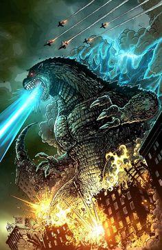 Godzilla - Pencil & inks by Ken Haeser. Colours by Blair Smith. Godzilla Wallpaper, Orca Tattoo, Hamsa Tattoo, King Kong, Geek Culture, Godzilla Party, Godzilla Tattoo, Giant Monster Movies, Movies And Series
