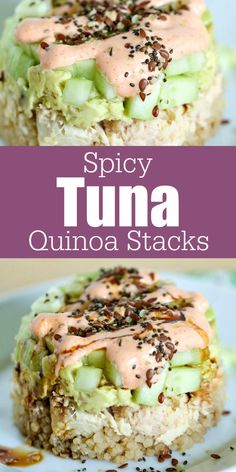 For a quick, easy and delicious meal, try these Spicy Tuna Quinoa Stacks! Full of flavor and good for you, too!  OnlyAlbacore   AD @bumblebeefoods