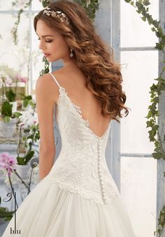 Wedding Gown 5411 Embroidered Bodice with Satin Shoulder Straps on Soft Net Ball Gown