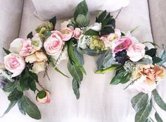 Lovin' on this peony and succulent floral garland! http://emmalinebride.com/modern/succulents-in-weddings/