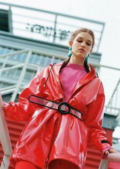 6fed55eb NWT ZARA Red FAUX PATENT LEATHER RAINCOAT Jacket Coat Size S-M Ref.4341/006  #ZARA #Raincoat #Casual
