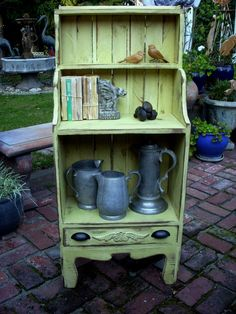 Wooden Shelf Bookcase Distressed Farmhouse by honeystreasures