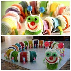 Cute Caterpillar Cupcakes for kids party . :)  Recipe--> http://wonderfuldiy.com/wonderful-diy-cute-caterpillar-cupcakes/