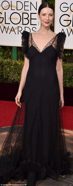Blacking out:Caitriona Balfe, 36, was nearly perfection but for the ill-placed ruffles