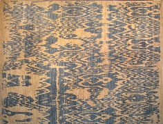 Gorgeous Ivory and Blue Ikat Carpet
