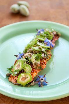 Pan-Seared Salmon with Green Almond Relish & Spring Herbs