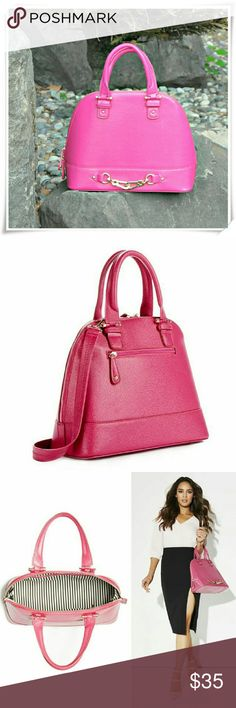 """Gramercy bag.  Sleek bag for many occasions. It features front hardware detsiling, light gold tone hardware. The color is fuscia pink, not neon or dark.  Details: L 13"""", H 10-1/2"""", W 5-1/2"""".  Please use only ✔OFFER  button for all price negotiations. I'll do a price drop⤵ for you for discounted shipping, if we agree about the price. JustFab Bags Satchels"""