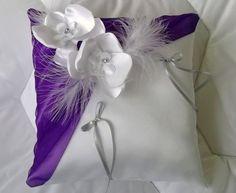 Coussin porte alliances,mariage, blanc(ou ivoire) et violet et gris : Autres accessoires par dp-creation