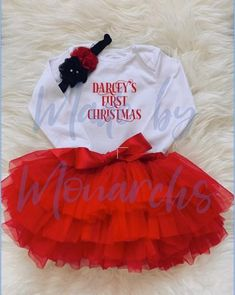 First Christmas for a special little girl? How adorable would any little princess look in this gorgeous 3 piece set including PERSONALISED bodysuit red tutu and matching headband Following sizes available 0-6 months 6-12 months 12-18 months Available to purchase for just 20 (plus P&P) and will be added to the website today! #firstchristmas #babysfirstchristmas #christmas2020 #christmas #personalisedchristmas #giftideas #christmasgifts #christmasdayoutfit Christmas Day Outfit, First Christmas, Christmas Gifts, Red Tutu, Little Princess, 18 Months, 3 Piece, Little Girls, Tulle