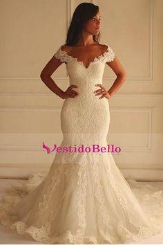 2017 del hombro Tulle con Applique corte tren vestidos de novia de la sirena US$ 369.99 VTOP8AX8557 - VestidoBello.com for mobile