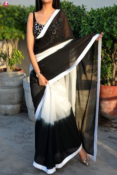 Buy Black & White Double Shaded Georgette Saree Online in India Simple Sarees, Trendy Sarees, Stylish Sarees, Fancy Sarees, Saree Designs Party Wear, Saree Blouse Designs, Blouse Patterns, Sari Blouse, Black And White Saree