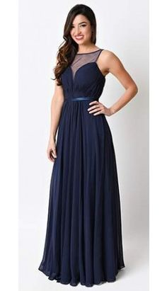 Navy Blue Chiffon Illusion Sweetheart Long Gown