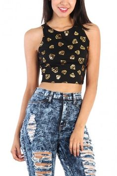Gold Diamond Print Crop Tank Top - Black