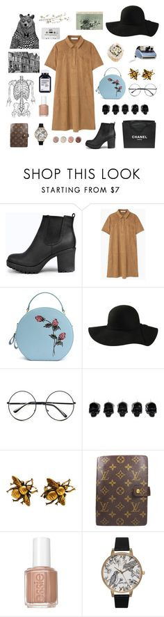 """""""these boots"""" by ellafelsing ❤ liked on Polyvore featuring Boohoo, MANGO, Ultimate, Retrò, Polaroid, D.L. & Co., Joseff of Hollywood, Chanel, Louis Vuitton and Essie"""