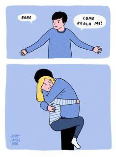 Bangkok-based illustrator Pratchaya Mahapauraya of Sundae Kids illustrates sweet comics about love that tug at your heart strings. Cute Couple Comics, Couples Comics, Cute Couple Art, Couple Cartoon, Cute Love Cartoons, Funny Cartoons, Funny Comics, Couple Illustration, Funny Illustration