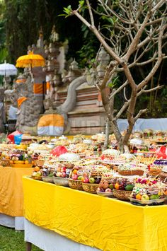 Hindu offerings of fruit in a temple