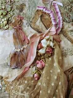 detail of roses. Antique and vintage embroidery ribbons