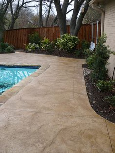 I like this color- stamped concrete pool decks photos Concrete Patio Designs, Concrete Deck, Cement Patio, Stamped Concrete Patios, Cement Design, Deck Design, Pool Coping, Landscaping Retaining Walls, Backyard Landscaping