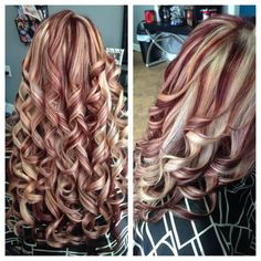 Red and Blonde Highlighted long hair.. more styles on link