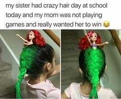 Crazy Hair Day At School, Crazy Hair Days, School Today, Stupid Funny Memes, Haha Funny, Funny Cute, Hilarious, Funny Humor, Funny Stuff