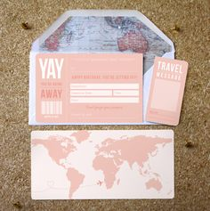 Birthday Boarding Pass perfect for announcing a surprise trip away! Purchase this travel ticket on our etsy store, there is also an option to add an envelope infil of a map of the world.
